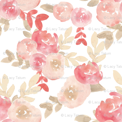 Subdued Nude Soft blush Pink Floral Watercolor