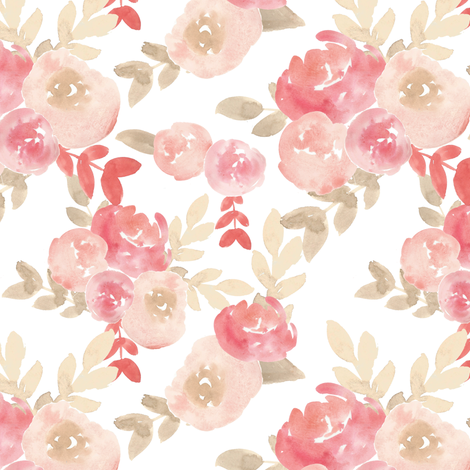 Subdued Nude Soft blush Pink Floral Watercolor fabric by smallhoursshop on Spoonflower - custom fabric