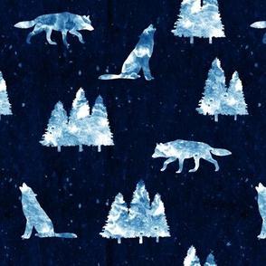 wolves on dark indigo