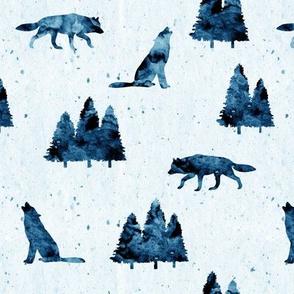 wolves on blue