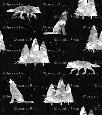 e6f057b40 wolves on black wallpaper - littlearrowdesign - Spoonflower