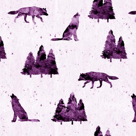 wolves on purple  fabric by littlearrowdesign on Spoonflower - custom fabric