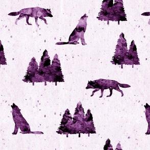 wolves on purple
