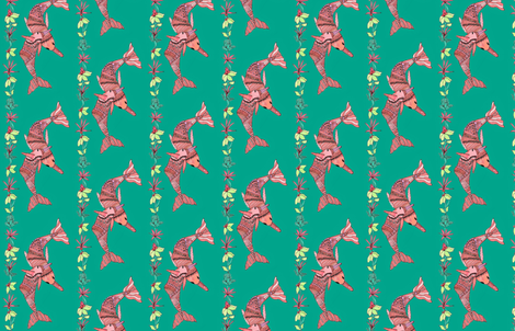 Pink Dolphins of the Amazon fabric by kimruss@thatcatart on Spoonflower - custom fabric