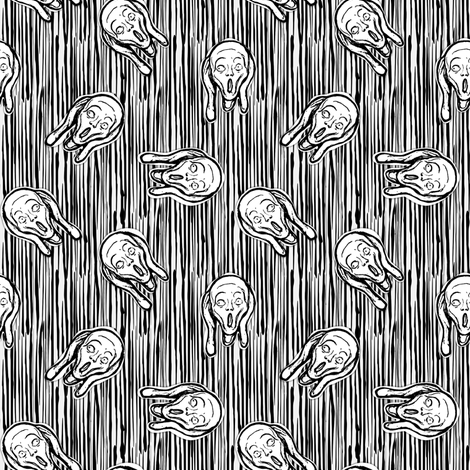 Scream B & W fabric by susiprint on Spoonflower - custom fabric