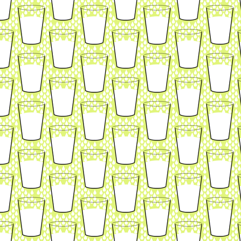 Milk glasses on yellow fabric by susiprint on Spoonflower - custom fabric