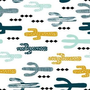 cactus railroad fabric print- cactus design