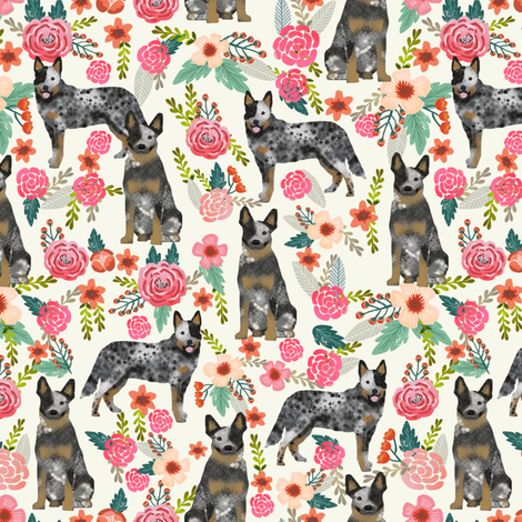 Australian Cattle Dog florals cream fabric by petfriendly on Spoonflower - custom fabric