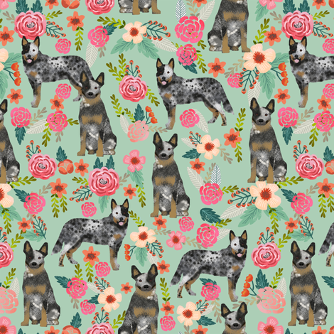 Australian Cattle Dog florals mint fabric by petfriendly on Spoonflower - custom fabric