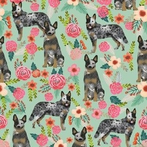 Australian Cattle Dog florals mint