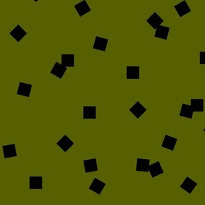 small squares, scattered squares - black on olive geometric