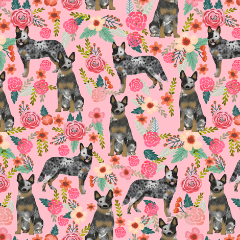 Australian Cattle Dog florals pink fabric by petfriendly on Spoonflower - custom fabric
