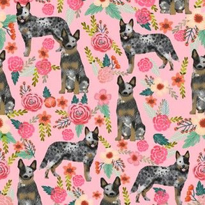 Australian Cattle Dog florals pink