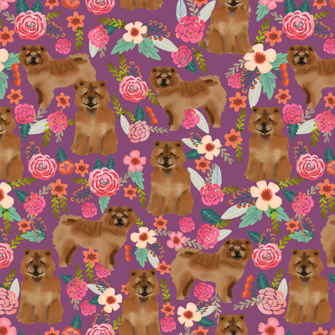 chow chow florals dog fabric amethyst fabric by petfriendly on Spoonflower - custom fabric
