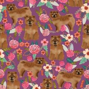 chow chow florals dog fabric amethyst