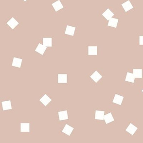 Tiny squares - white on blush dusty pink