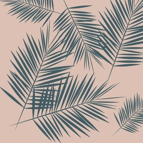 palm leaves - blush on dusty blue