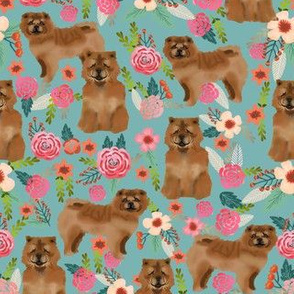 chow chow florals dog fabric gulf