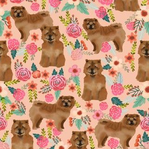 chow chow florals dog fabric peach