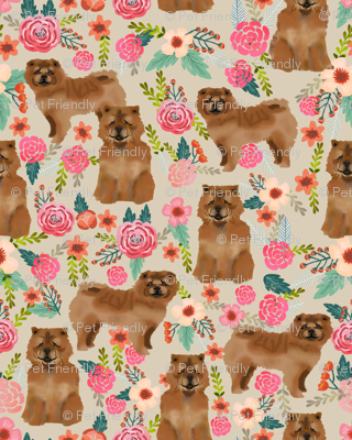 chow chow florals dog fabric sand
