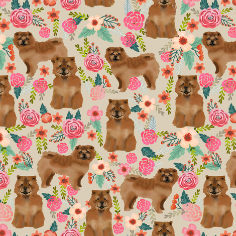 chow chow florals dog fabric sand fabric by petfriendly on Spoonflower - custom fabric