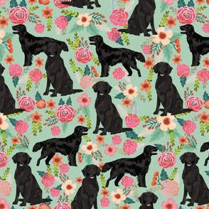 Flat Coated Retriever dog breed florals mint