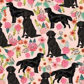 Flat Coated Retriever dog breed florals pink