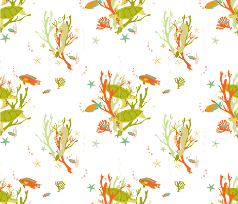 seahorses-and-turtles fabric by dale_coykendall on Spoonflower - custom fabric