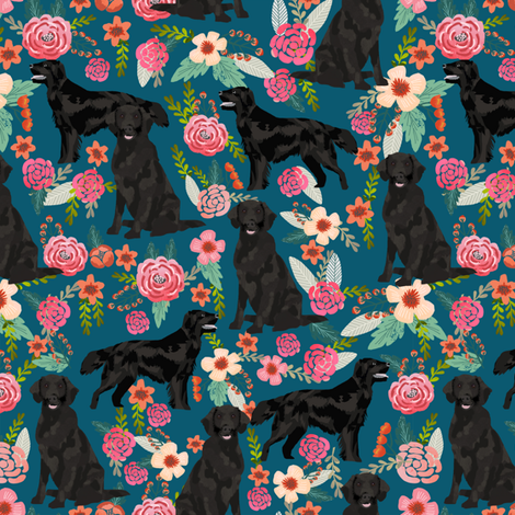 Flat Coated Retriever dog breed florals sapphire fabric by petfriendly on Spoonflower - custom fabric