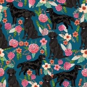 Flat Coated Retriever dog breed florals sapphire