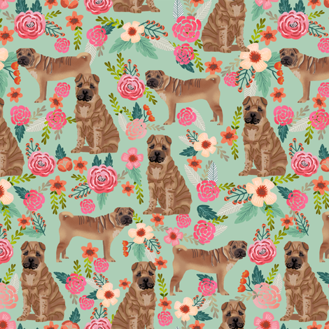 Sharpei dog fabric with florals mint fabric by petfriendly on Spoonflower - custom fabric
