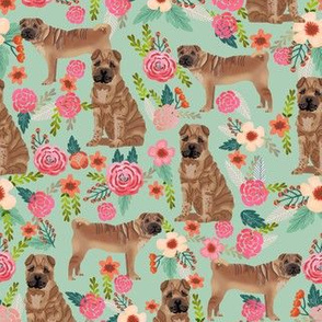 Sharpei dog fabric with florals mint
