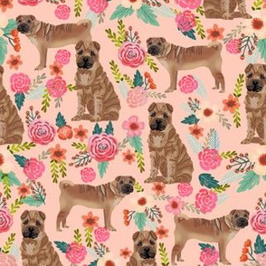 Sharpei dog fabric with florals peach