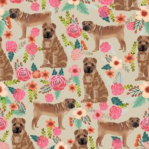 Sharpei dog fabric with florals sand