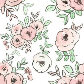 Spring pastel pink watercolor floral