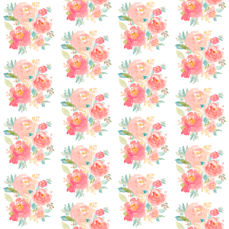 """2"""" Floral Sweet Pastel - White fabric by shopcabin on Spoonflower - custom fabric"""