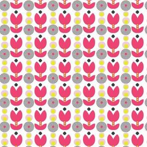Boho mod flowers - pink folksy retro floral shapes