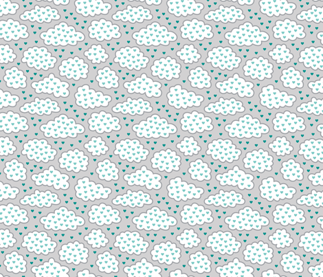 Heart Clouds Cool (Spice) fabric by brendazapotosky on Spoonflower - custom fabric