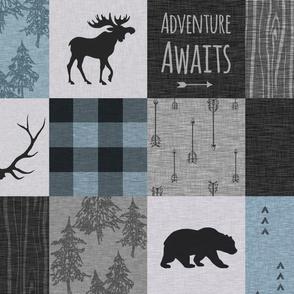 Adventure Awaits Quilt- Soft Blue, Black And Grey
