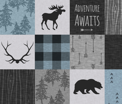 Adventure Awaits Quilt- Soft Blue, Black And Grey fabric by sugarpinedesign on Spoonflower - custom fabric