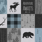 Adventure Awaits Quilt- Soft Blue, Black And Grey