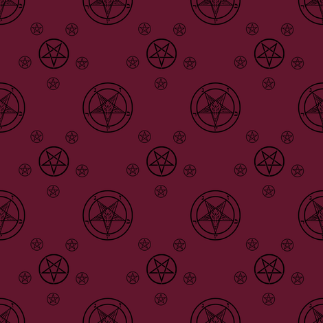 Satanic Baphomet [Wine Red] fabric by mousey_housewife on Spoonflower - custom fabric