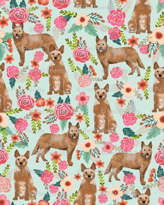 australian cattle dog red heeler fabric florals dog design cute dogs fabric