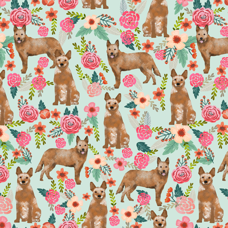 australian cattle dog red heeler fabric florals dog design cute dogs fabric fabric by petfriendly on Spoonflower - custom fabric