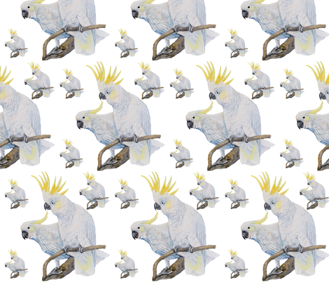 Lemon Crested Cockatoo fabric by parrots on Spoonflower - custom fabric