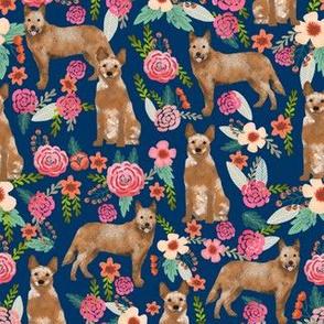 australian cattle dog red heeler fabric florals dog design floral fabric