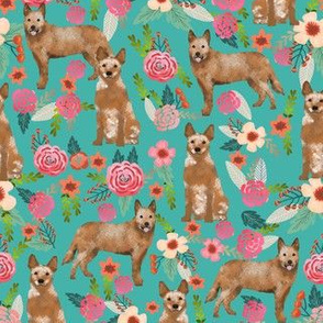 australian cattle dog red heeler fabric floral fabric dog florals fabric