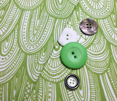 Doodle Scales - Sewing Swatches Green on White