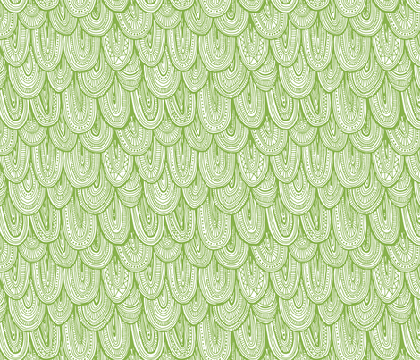 Doodle Scales - Sewing Swatches Green on White fabric by siya on Spoonflower - custom fabric