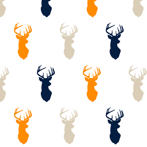 (small scale) multi buck || navy tan orange fabric by littlearrowdesign on Spoonflower - custom fabric